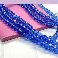 Cristal redondo de 6 mm, color azul, tira de 50 cristales aprox
