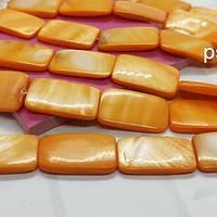 Nacar rectangular naranja, 25 x |5 mm, tira de 16 piezas