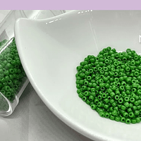 Mostacilla calibrada color verde de 11/0, 20 grs.