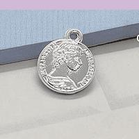 Dije baño de plata, en forma de moneda antigua, 16 mm, 2 mm de grosor, por unidad