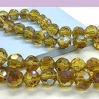 Cristal redondo facetado 10 mm, amarillo facetado tornasol, set de 14 unidades