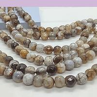 Agatas, Agata en tonos café y grises en 6 mm, tira de 62 piedras aprox