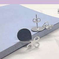 Base baño de plata, 18 x 10 mm, por par