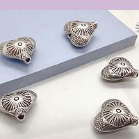 Separador plateado corazón con diseño, 12 x 13 mm, set de 5 unidades