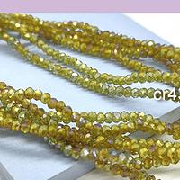 Cristal facetado verde  y amarillo tornasol de 2 x 2 mm, tira de 190 cristales