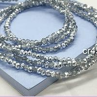 Cristal facetado transparente y plateados de 2 x 2 mm, tira de 190 cristales aprox