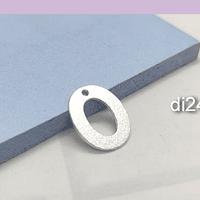 Letra O, baño de plata, 15 x 12 mm, por unidad