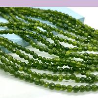 Agatas, Agata 2 mm , en tonos verde, tira de de 165 piedras aprox.