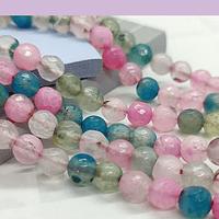 Agatas, Agata en tonos rosados, azules y celestes,  en 6 mm, tira de 62 piedras aprox