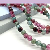 Agatas, Agata lisa de 4 mm, en tonos verdes y rosados, tira de 93 piedras aprox