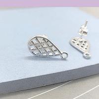 Base de aro baño de plata,  16 x 8 mm, por par