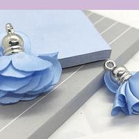 Borla flor celeste, base plateado 24 mm de largo, por par