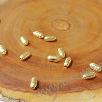 separador baño de oro, 5 x 2 mm, agujero de 1 mm, set de 12 grs. (por mayor)