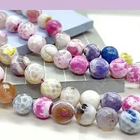 Agatas, Agata facetada en tonos rosados y pasteles de 8 mm, tira de 46 piedras apróx