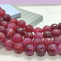Agatas, Agata de 10 mm, facetada color fucsia tira de 37 piedras aprox.