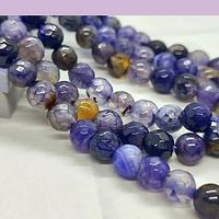 Agatas, Agata en tonos morados, en 6 mm, tira de 62 piedras aprox