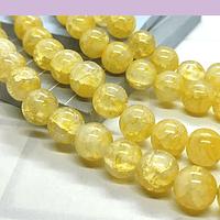 Perla de vidrio en color amarillo craquelado, de 10 mm, tira de 100 unidades aprox
