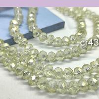 Cristal facetado amarillo claro tornasol de 6 mm, tira de 94 cristales aprox