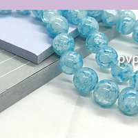 Perla de vidrio en color celeste craquelado, de 10 mm, tira de 100 unidades aprox