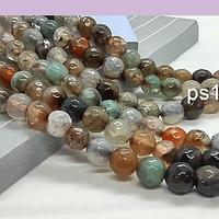 Agatas, Agata en tonos tierra, en 6 mm, tira de 62 piedras aprox