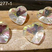 Cristal en forma de corazón tornasol, 14 x 15 mm, set de 4 unidades