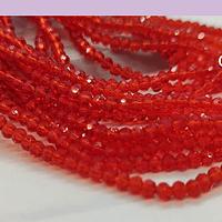 Cristal facetado de 2 mm, color rojo, tira de 190 cristales aprox.