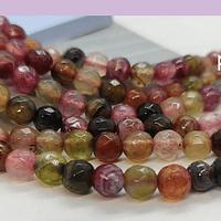 Agatas, Agata en tonos multicolor, en 6 mm, tira de 62 piedras aprox