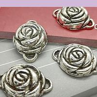 Dije plateado doble conexión en forma de rosa, 23 x 6 mm, set de 4 unidades