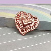 Dije corazón baño de cobre, 18 x 19 mm, por unidad