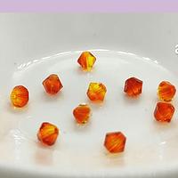 Cristal Austriaco tupi de 4 mm, color naranjo bicolor, set de 10 unidades