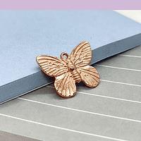 Dije baño de cobre en forma de mariposa, 18 x 15 mm, por unidad