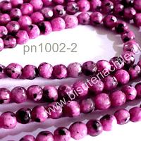 Agata facetada de 4 mm, rosado jaspeada, tira de 90 piedras aprox.