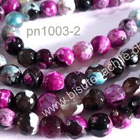 Agata de 6 mm, multicolor jaspeada, tira de 63 piedras aprox