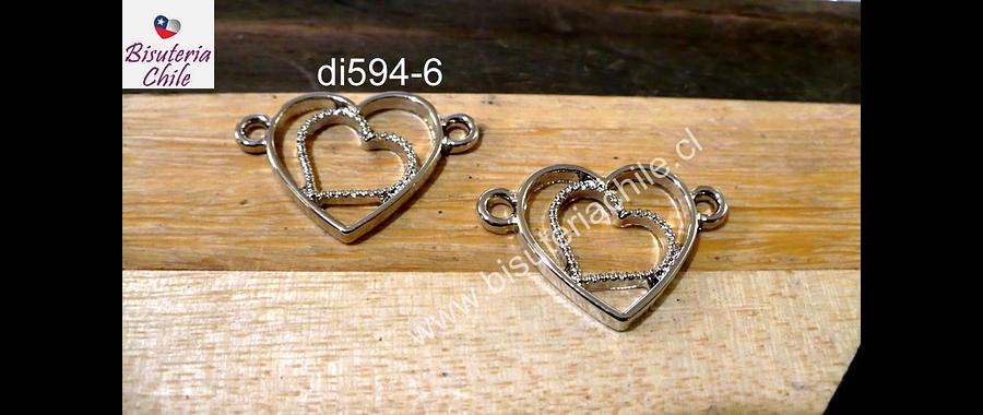 Dije plateado doble conexión, con corazones, 23 x 17 mm, set de dos unidades