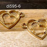 Dije dorado doble conexión, con corazones, 23 x 17 mm, set de dos unidades