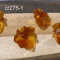 Cristal en forma de hoja color amarillo, 15 x 17 mm, set de 4 unidades (no incluye valier)