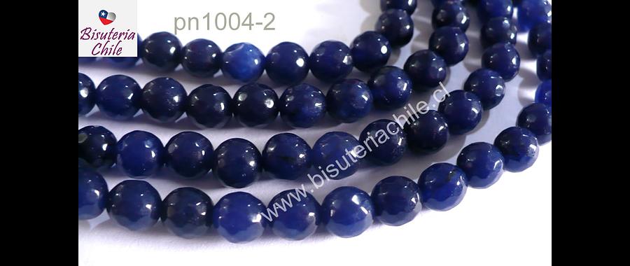 Agatas, Agata facetada azul de 8 mm, tira de 48 piedras apróx