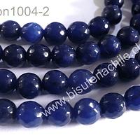 Agata facetada azul de 8 mm, tira de 48 piedras apróx