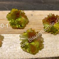 Cristal con forma de hoja color verde claro, 14 x 14 mm, set de 4 unidades )
