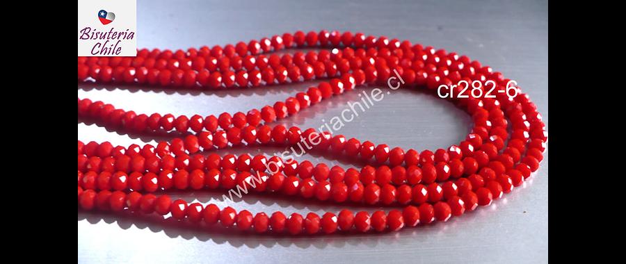 Cristal facetado rojo  medio de 3 mm x 2 mm, tira de 140 cristales aprox.