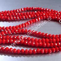 Cristal facetado rojo  de 3 mm x 2 mm, tira de 130 cristales aprox.