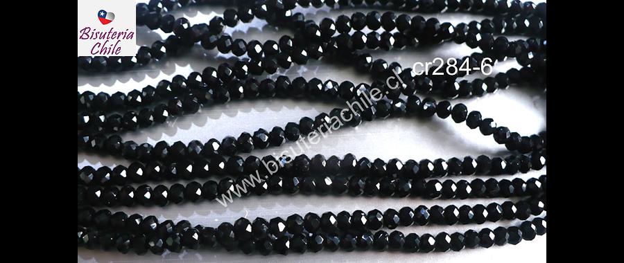 Cristal facetado negro de 3 mm x 2 mm, tira de 135 cristales aprox.