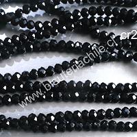 Cristal facetado negro de 3 mm x 2 mm, tira de 140 cristales aprox.