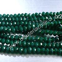 Cristal facetado  verde de 3 mm x 2 mm, tira de 148 cristales aprox.