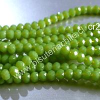 Cristal facetado verde limón de 3 mm x 2 mm, tira de 148 cristales aprox.