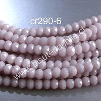 Cristal facetado rosa pálido de 3 mm x 2 mm, tira de 148 cristales aprox.