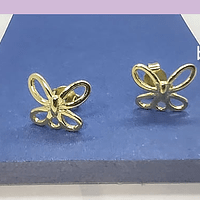 Base de aro baño de oro en forma de mariposa, 11 x 10 mm, por par