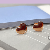 Base baño de cobre em forma de corazón, 10 x 10 mm, por par