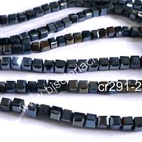 Cristal facetado negro tornasol cuadrado, 3 mm, tira de 99 cristales aprox.