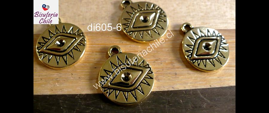 Dije dorado con ojo de orus, 16 mm de diámetro, set de 4 unidades